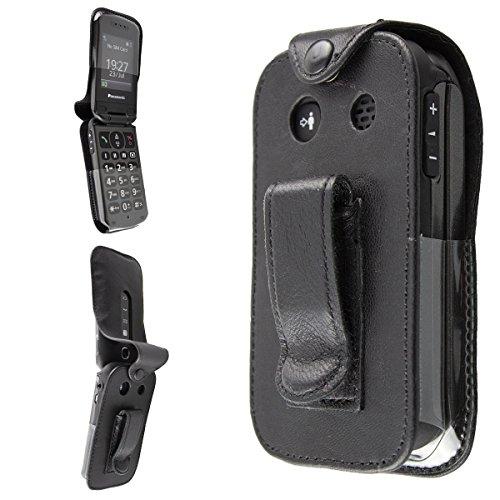caseroxx Handy-Tasche Ledertasche mit Gürtelclip für Panasonic KX-TU327 TU328 TU329 TU339 TU349 aus Echtleder, Handyhülle für Gürtel (mit Sichtfenster aus schmutzabweisender Klarsichtfolie in schwarz)