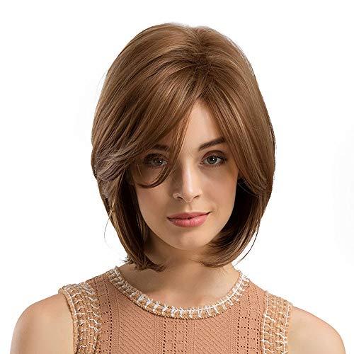 Perruque Femme naturelle, feiXIANG femmes haute qualité Marron Perruque Cheveux Extensions de cheveux courte Complète ondulé Chaleur resistant Synthetique
