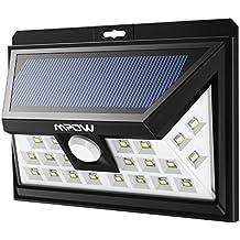 Foco Solar 24 LEDs Mpow con Sensor de Angulo Ancho, Focos LED Exterior Protección Ambiental y Ahorra de Energía, Luz Solar Impermeable al Aire Libre con 3 Modos de Luces Inteligentes para Jardín Exterior Casa Camino Escaleras Pared, Solar Luz Jardin 1 Unidad