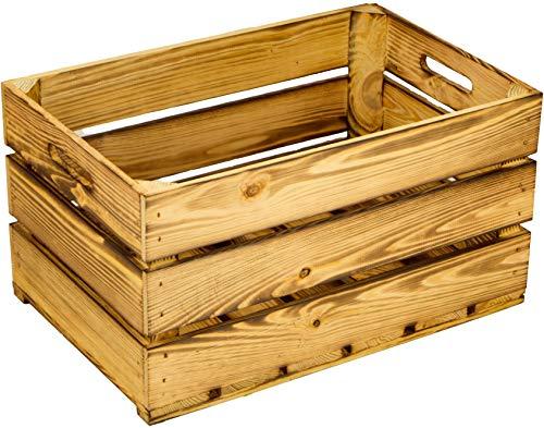 stabile flambierte / geflammte Obstkisten / Weinkisten Apfelkisten- Stiege, aus dem Alten Land +++ Natur 54x35x30 cm - Alte Holz-brenner