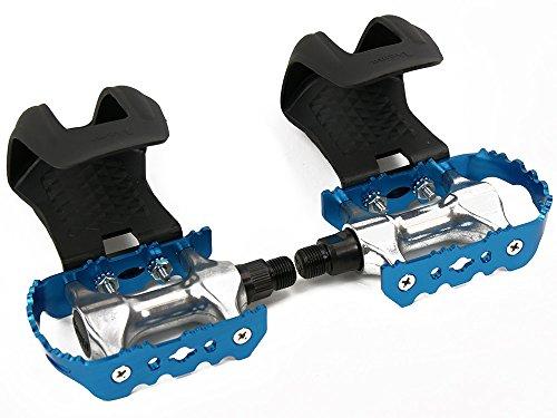 Blaue Rennrad Fahrrad Pedale mit Kunststoff Pedalhaken ohne Riemen