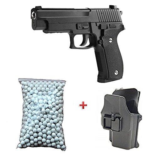 Galaxy Pack Cadeau Airsoft Pistolet P226 Métal Noir Avec Holster 6mm 0.5 Joule à Ressort 600 billes offert ! - G26+