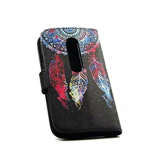 Sunroyal Leder Hülle im Bookstyle Handyhülle für Motorola Moto G 3. Generation 12.7cm 5 Zoll Bunt Wallet Case Style mit Karten-Fächern - 3
