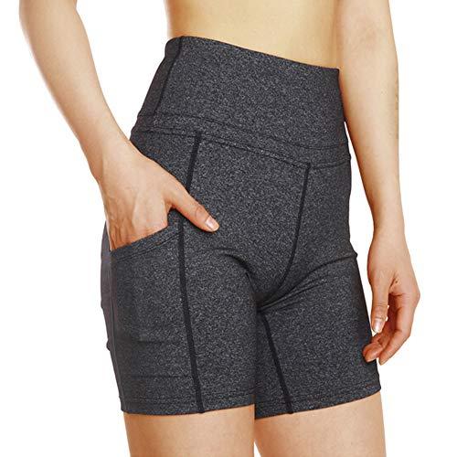 Frauen-hohe Taillen-Bauch-Steueryoga-Kurzschlüsse, die laufende Hosen des kurzen Trainings mit Tasch Yoga Shorts (Grau, S) (Für Hoher Mit Hose Taille Junioren)