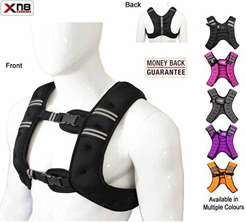 Xn8-Sport-Gewichtsweste, geeignet fürs Lauftraining, Workout, Crossfit und zum Gewichtsverlust, anpassbares Gesamtgewicht, 10kg., Schwarz , (H) 44cm, (W) 33cm, (D) 7cm