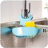 #9: Sink Dish Cloth Sponge Holder Storage Organizer Drain Bag Saddle Racks Debris Drain Basket Kitchen Tool Pack of 1Blue (With Free Token)