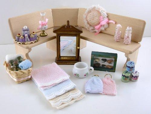 Preisvergleich Produktbild Puppenhaus Badezimmer Zubehör Set Parfum Handtücher Schrank Wc-rollenhalter etc