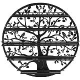 Stahlblechwandregal schwarz mit Baum-Silhouette, 5Regalfächer zum Aufbewahren von Nagellack und Lippenstift, Wandschmuck