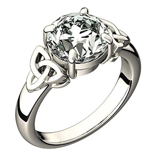 UPCO Damen Sterling Silber keltischer Dreieinigkeitsknoten Ring, großer Zirkonia Stein - Größe 5 -