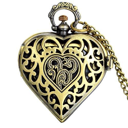 JewelryWe Taschenuhr an Kette im Steampunk-Stil, 80 cm lange Kette, Herzform, als Geschenk zum Valentinstag, in Geschenkbeutel