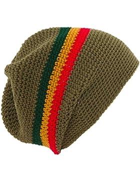Crochet Baggy Beanie Hat: Caqui Verde/Rojo/Oro/Verde