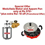Kitchenwale's Stainless Steel Kitchen MeduVada Maker With Appam Patra/Menduwada Maker With Appam Pan/Makes Perfectly Shaped & Crispy Medu Vada With Paniyarakal - Perfect Gift For Woman