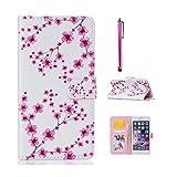 MUTOUREN Cover / Phone Case / Case pour Huawei P9 Lite gaufrage design Folio PU Housse en cuir dans le livre de style avec support fonctionnel pour les cartes de crédit avec intérieur doux TPU + Stylet pen - fleurs de prunier