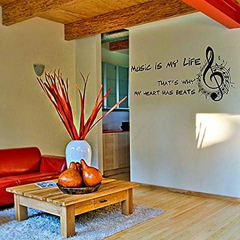 (60 x 24 cm) de vinilo adhesivo decorativo para pared con texto en inglés la música es mi vida/lámina de decoración de diseño de raquetas de oveja de peluche con sonajero pegatina/Home DIY de tela + adhesivo de vinilo al azar incluye caja de
