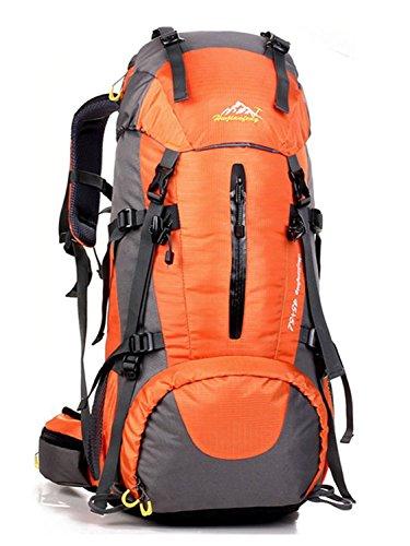 Minetom 50L Zaino Ciclismo Campeggio Viaggio Pack Backpack Bag Impermeabile Trekking Escursionismo Montagna Alpinismo Arancia One Size(30*20*60 Cm)