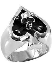 JewelryWe Anillo de la joyería de la mujer del hombre del cráneo del estilo de acero inoxidable del punk rock del…