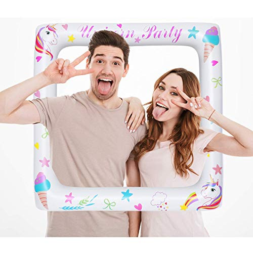 Amosfun Einhorn Party Supplies Aufblasbare Selfie Rahmen Bild Selfie Rahmen Birthday Party Supplies Baby Dusche Dekorationen
