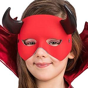 Carnival Toys 1707Máscara Diablo Con Cuernos, rojo, talla única