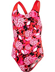 Speedo Girls Astro Fizz Allover – Bañador, niña, color Lava Red/Electric Pink/Black, tamaño 26