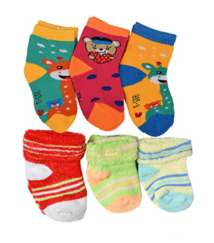 Crux&hunter 6 pair cotton towel(winter) socks of baby boy's and girl's (Age group 0-15 months)