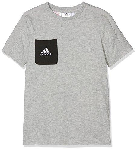 adidas Kinder Tiro 17 Kurzarm T-Shirt, Medium Grey Heather/Black/White, 140 (T-shirt Brusttasche Groß Hoch Und)