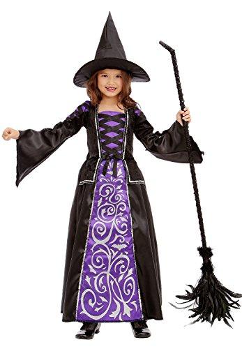 Hexe - Hexenkostüm für Kinder Halloween Lila-Schwarz-Silber - Hexenkostüm Mädchen (146/160) (Glamouröse Hexe Kostüme)
