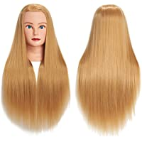 Cabeza de maniquí de pelo sintético de fibra sintética para entrenamiento de peluquería, modelo de entrenamiento con abrazadera libre (Blond)