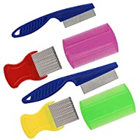 ANWANG 6 Pieces Pet Grooming Combs Dog Lice Removal Comb for Removing Dandruff Flea Stain, 5 Colors, 3