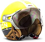 Soxon SP-325 Plus 'Yellow' · Jet-Helm · Motorrad-Helm Roller-Helm Scooter-Helm Bobber Mofa-Helm Chopper Retro Cruiser Vintage Pilot Biker Helmet · ECE Visier Schnellverschluss Tasche L (59-60cm)