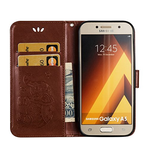 Für Samsung Galaxy A5 2017 Premium Leder Schutzhülle, weiche PU / TPU geprägte Textur Horizontale Flip Stand Case Cover mit Lanyard & Card Cash Holder ( Color : Red ) Brown
