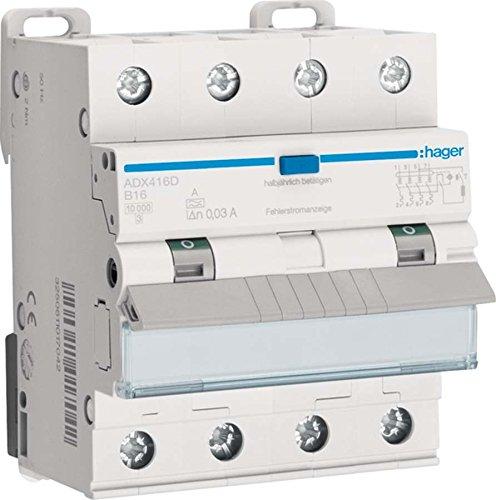 Hager FI/LS-Schalter ADX416D 4-polig, 10kA Kombination FI-Schalter/Leitungsschutzschalter 3250611016960