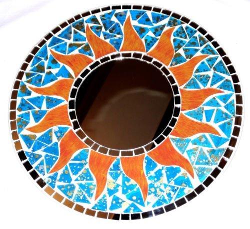Espejo-en-mosaico-hielo-30-cm-madera-sol-artesana-Mosaic-Mirror-Sun-Mosaique-Azul-Turquesa