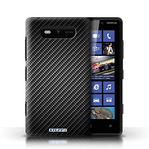 Hülle Case für Nokia Lumia 820 / Gold Entwurf / Kohlenstoff-Faser-Muster Collection Grau