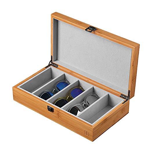 Wuxingqing Aufbewahrungsbox für Brillen Handgemachte 5 Stück Gläser Lagerung und Display Box Sunglass Glass Organizer Collector (Color : Beige, Size : Free Size)