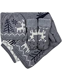 Women's Knitted Hat Scarf and Mittens Christmas Reindeer 3 Piece Set