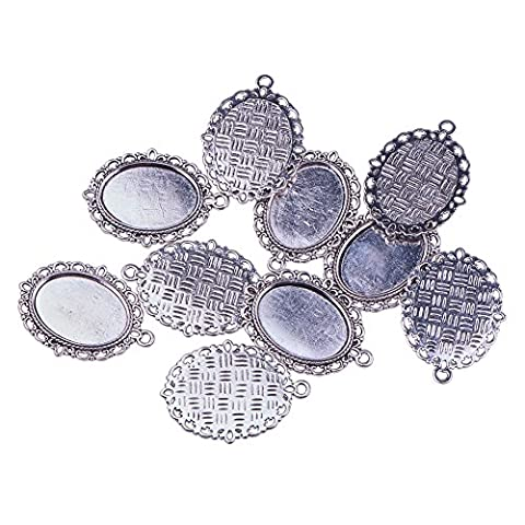 Pandahall 10 Pcs Tibetan Style Oval Pendant Cabochon Settings DIY Findings for Jewelry Making, Lead Free, Antique Silver