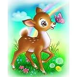 DIY 5D Diamant Malerei, wuayi 5D Diamant Malerei Set Kristall Diamant Stickerei Bilder Wandbild Ölgemälde Kits für Home Decor Animal Sika Deer, E: 25x30cm, As Shown