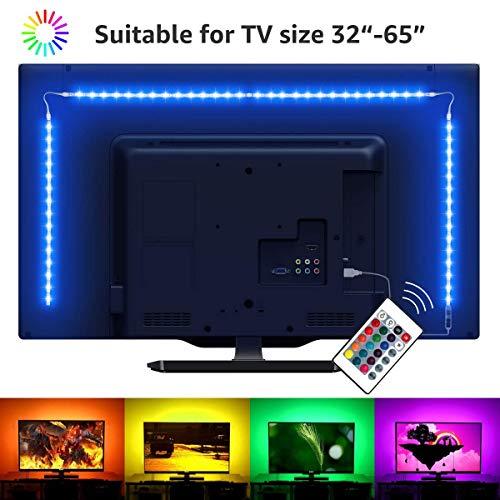 LED-TV-Hintergrundbeleuchtung, USB Schrägbeleuchtung, 16 Farben und 4 Dynamik-Modi, für 76,2 cm bis 152,4 cm große Fernseher