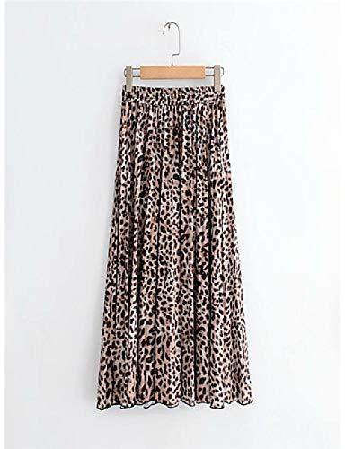 Basic Swing Röcke für Damen - Leopard Plissee/Print Hellbraun, Hellbraun, S - Baumwolle Leopard Rock