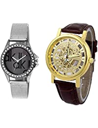 Rjcreation Dk-Transparent Analog Black And Gold Dial Girl's And Boy's Watch Combo - W-Dk(BD) & Open Brown