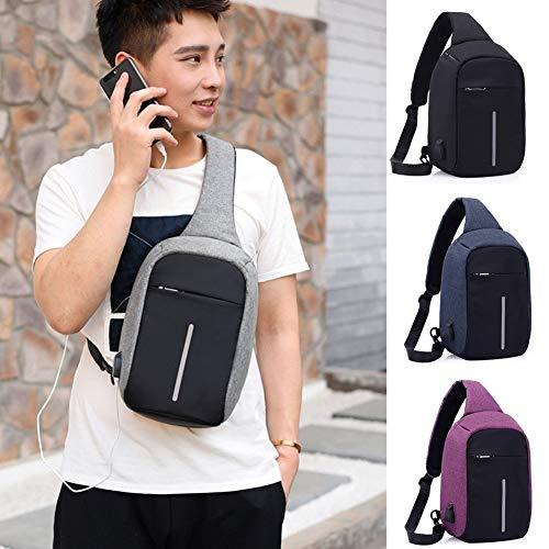 Leijing Anti-Diebstahl Herren Kleine Brusttasche USB Charge Polyester Sling Reisetasche Sport Tasche One Size schwarz - Polyester Sling-tasche