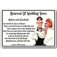 10 Personalised Wedding Vow Renewal Invitations with envelopes J162