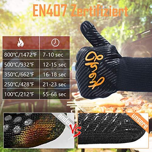 51rWMVg3WsL - SKEY Grillhandschuhe Ofenhandschuhe Grill Handschuhe zubehör Hitzebeständige bis zu 800 ° C Universalgröße Kochhandschuhe Backhandschuhe für BBQ Kochen Backen und Schweißen-Klassisch Schwarz