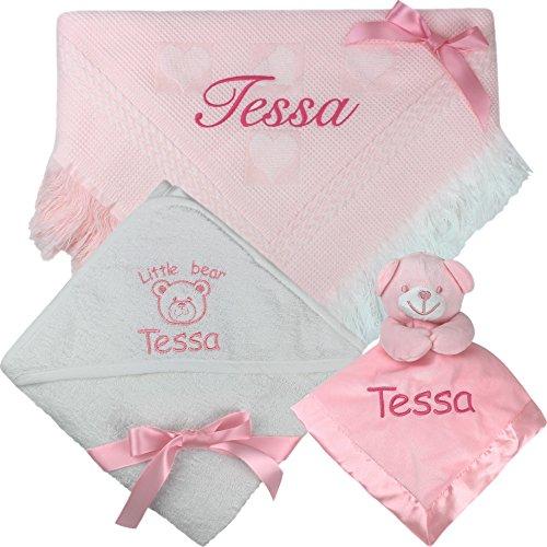 Personalisiertes Geschenk Baby Schal Decke, Badetuch mit Kapuze & Cuddly Teddy Tröster Set