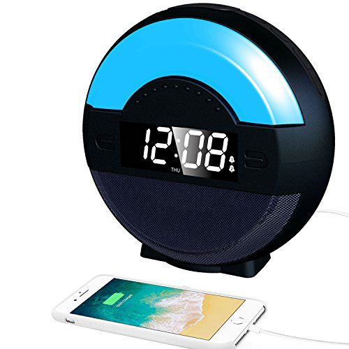 SVINZ Dual Alarm Clock Radio with Bluetooth Speaker and USB Charging Port for Bedrooms, LED Bedside Lamp Multi-Color Night Light for Kids, Loud Alarm for heavy sleepers, Digital FM, Battery Backup