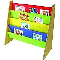 Kids Book Storage rack Sling libreria in legno con colori primari–by Nuovva