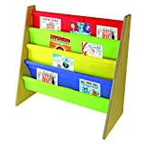 Kids Book Storage Rack Wooden Sling Bookshelf Childrens Bookcase Shelves With Primary Colours – by Nuovva