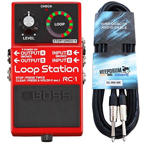 Boss RC-1 Loop Station Looper-Pedal + Keepdrum Gitarren-Kabel 3m