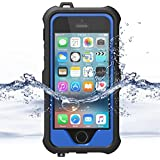 ZVE iPhone 5 Case, iPhone 5 5S SE Waterproof Case,iPhone 5S Waterproof Snowproof Dirtproof Shockproof Durable Full Sealed Protection Case Cover for Apple iPhone SE,iPhone 5S,iPhone 5(Blue New)