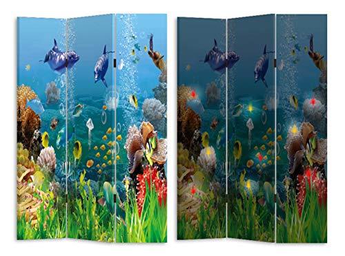 HTI-Line Paravent mit LED Korallenriff Sichtschutz Spanische Wand Raumteiler